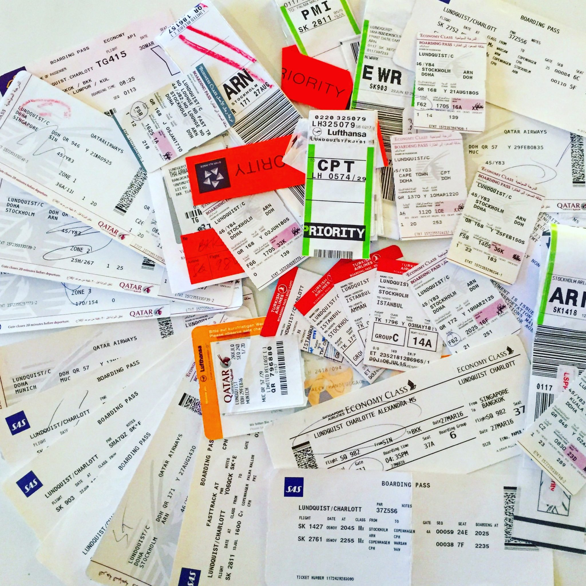 A picture of a lot of travel tags and boarding passes from my trips