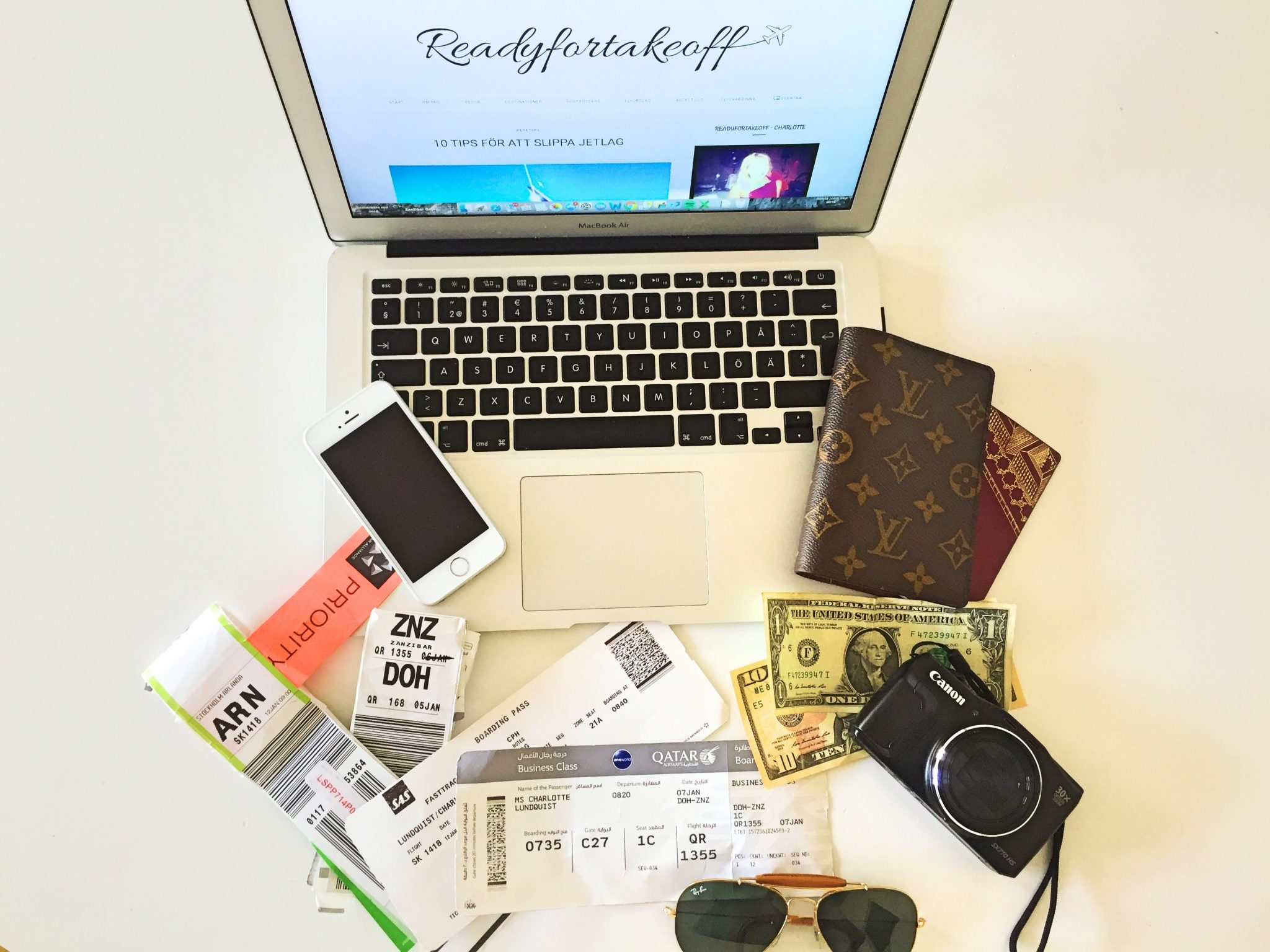 A picture of things that are usually in my bag when I travel