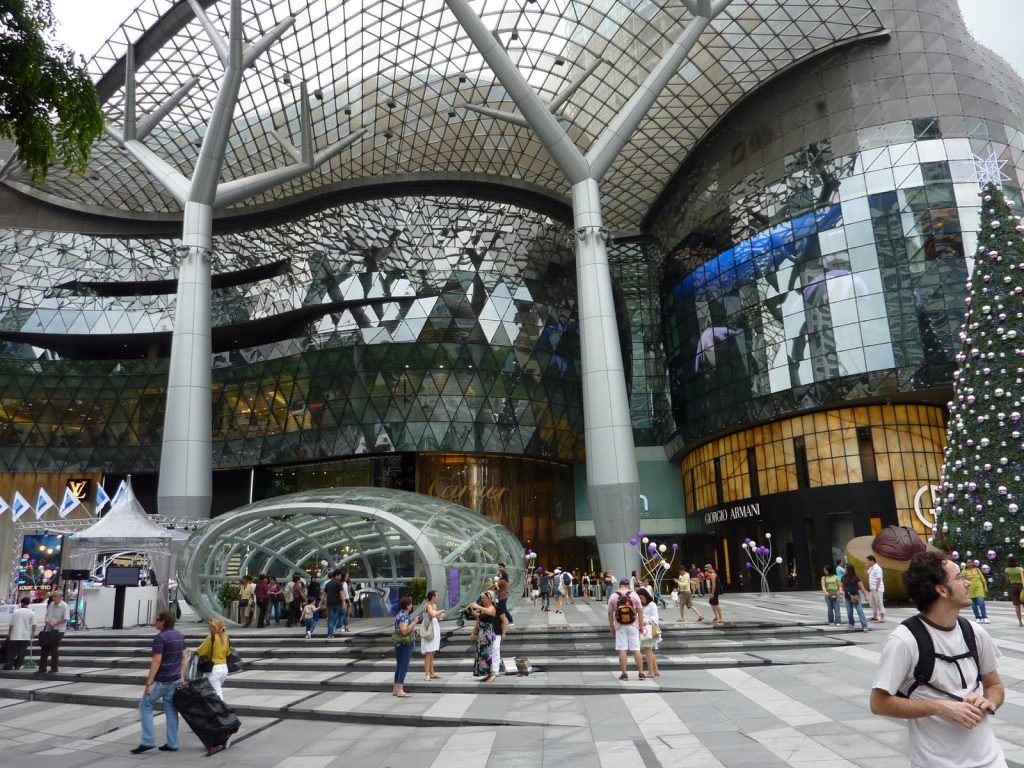 a picture of the entrance to the shopping mall at Merlion Park