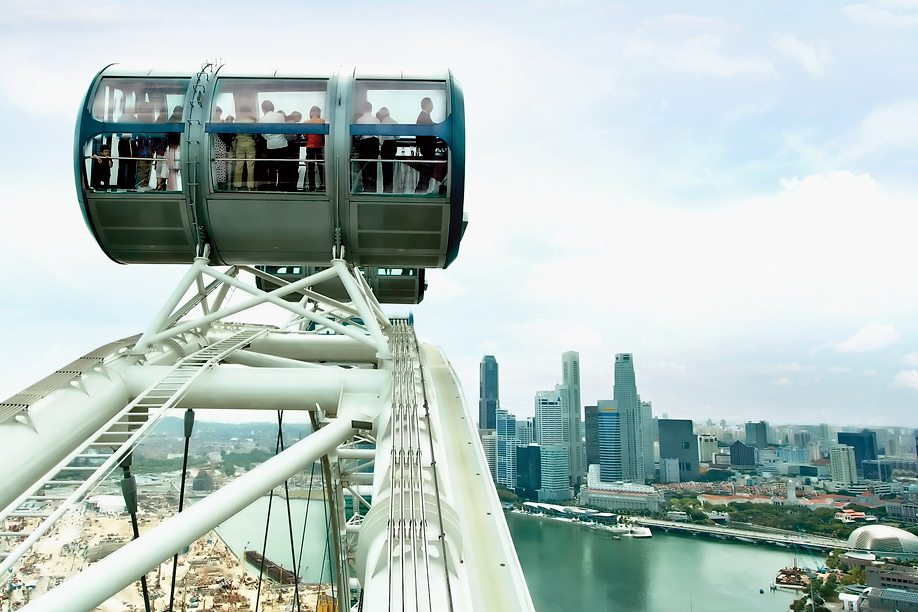 a view of the city from the top of the Singapore Flyer