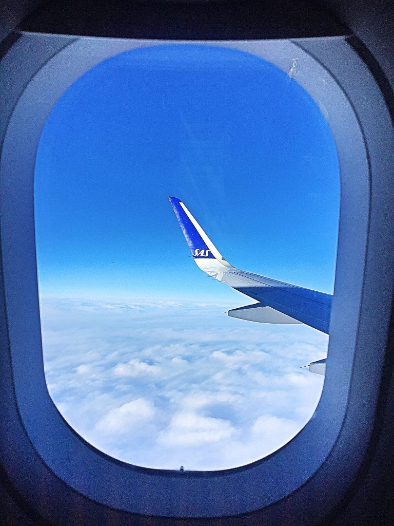 a picture of the wing of SAS airlines
