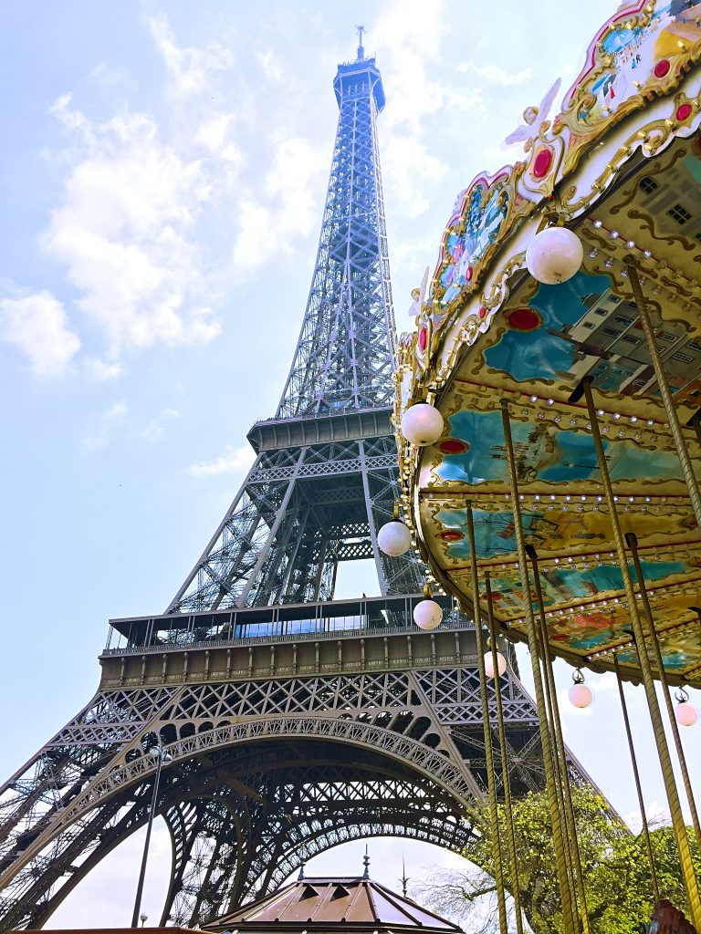 a picture of the Eiffel tower from the amusement park