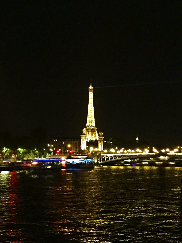 a picture of Eiffel tower at night from across the river
