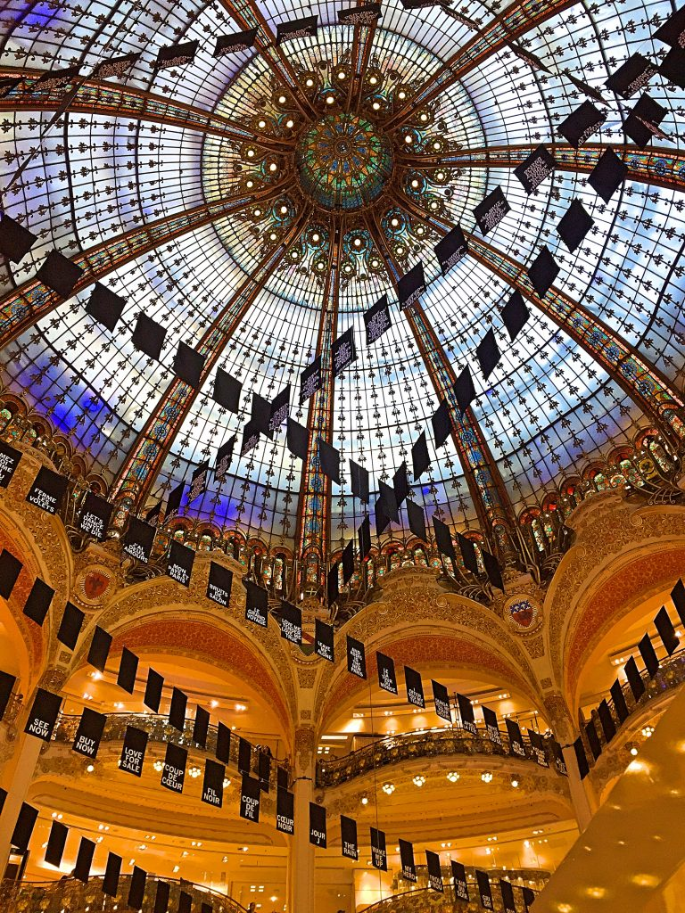a picture of the glass roof of the Galeries Lafayette shopping center