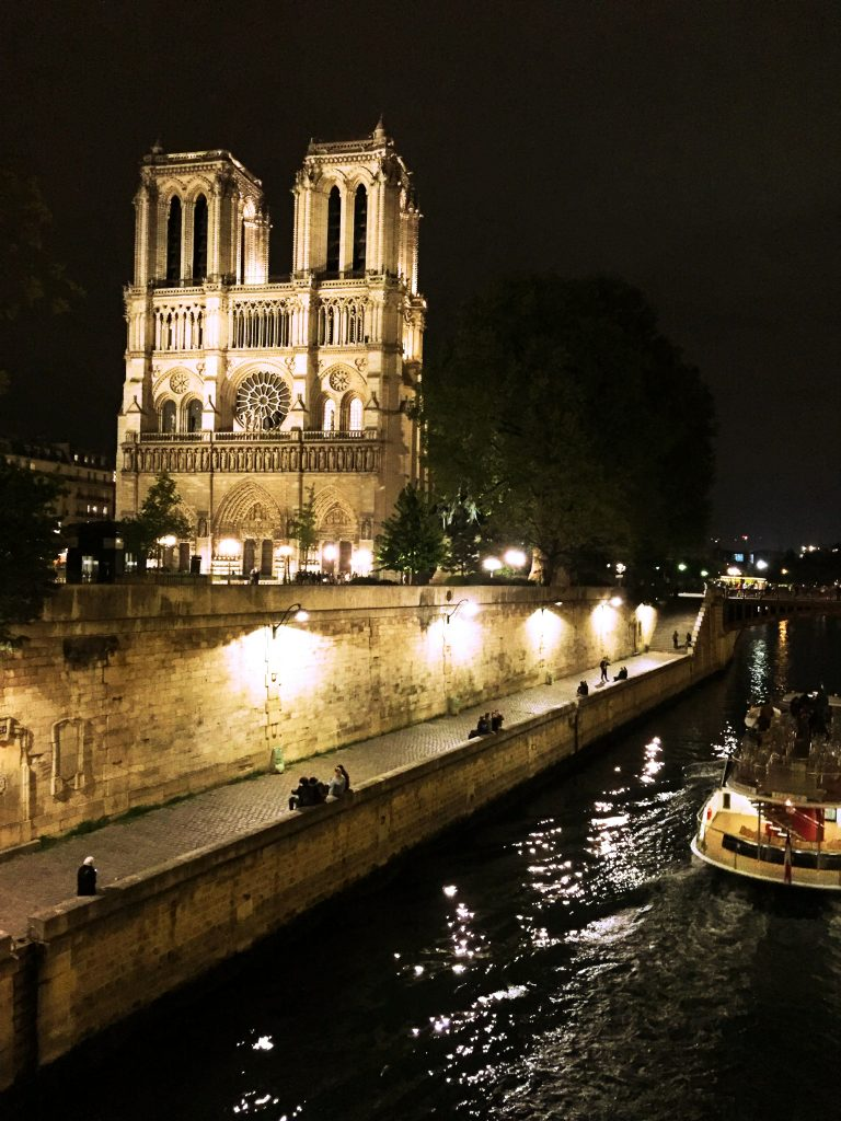 a picture of Notre Dame at night