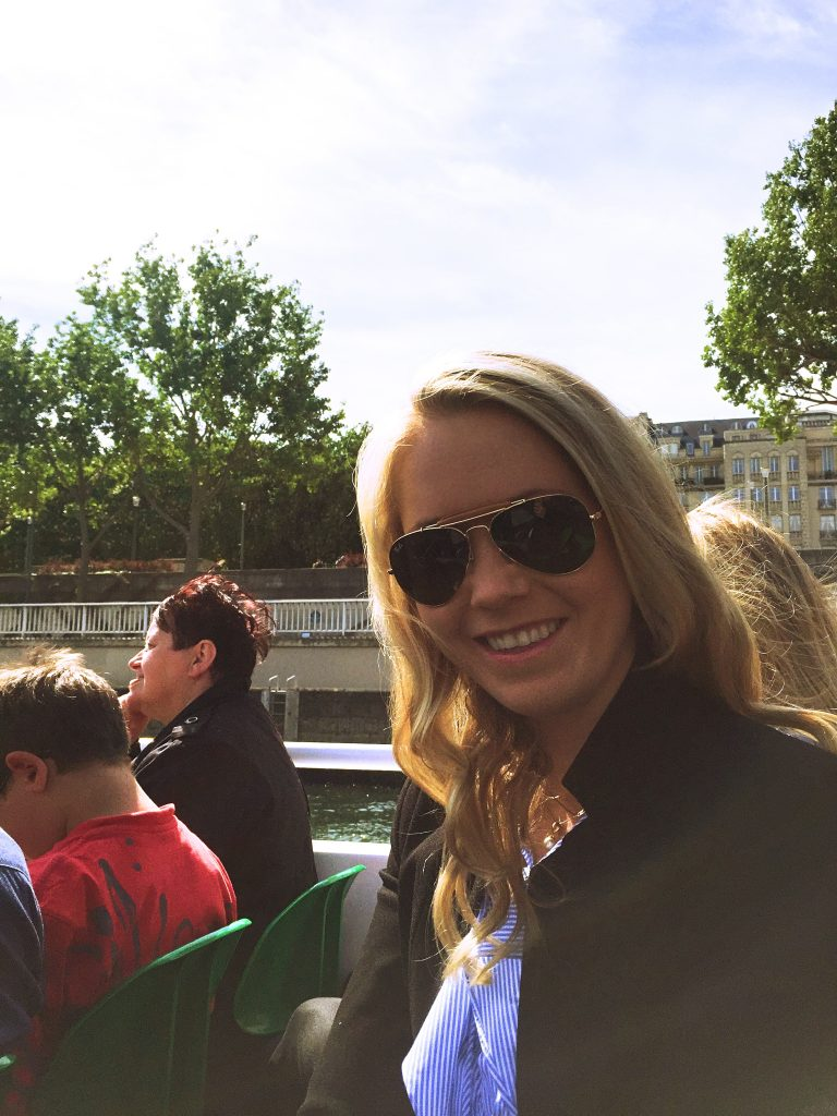 a picture of me on the sightseeing boat on the river Seine
