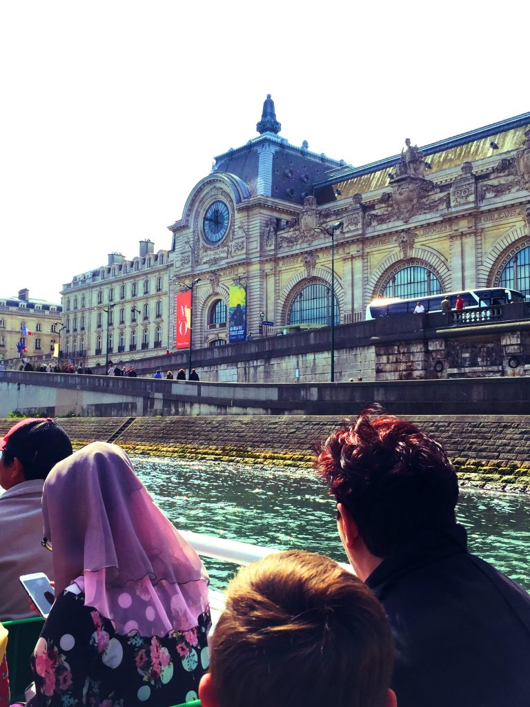 a picture of a building in Paris from the sightseeing boat on the river Seine