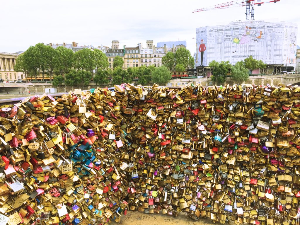 a picture of Padlocks on the bridges