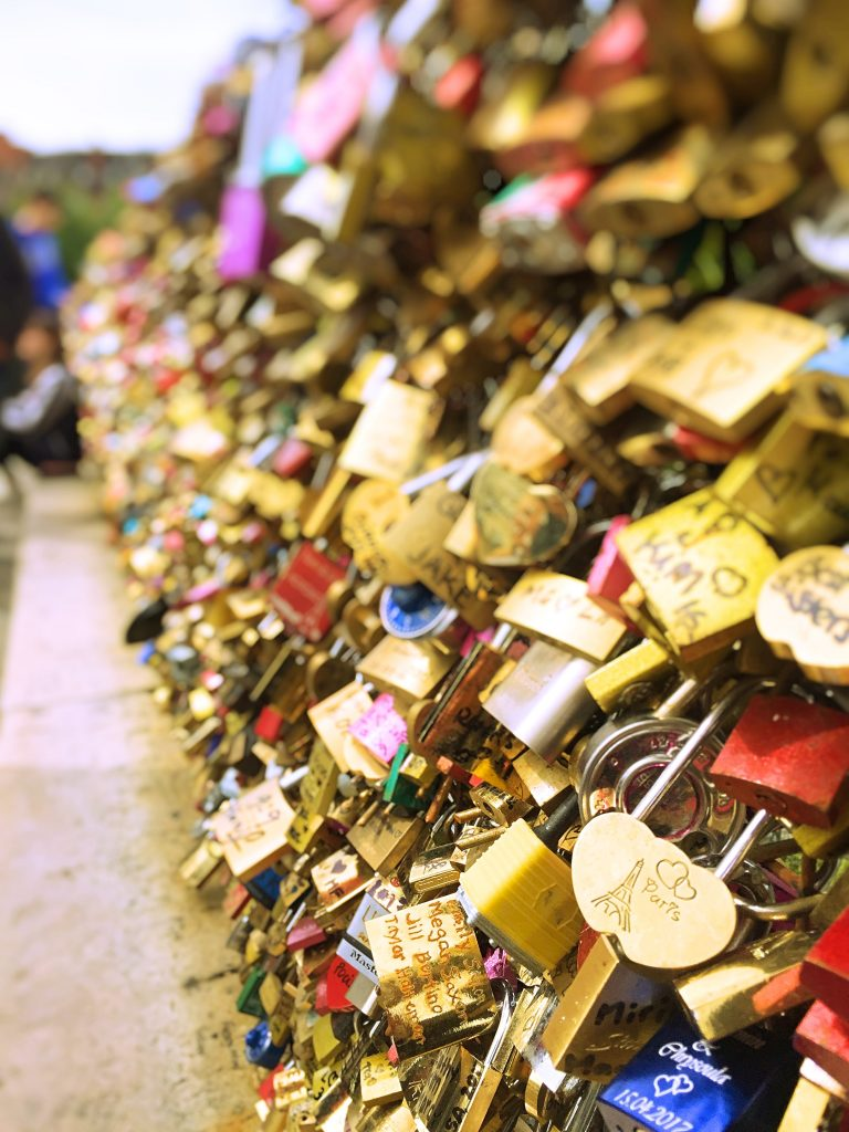 a close up picture of the Padlocks on the bridges