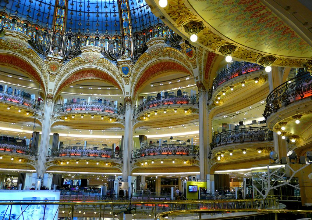 a picture of the interior of the Galeries Lafayette shopping center