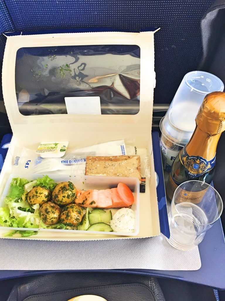 a picture of my meal on board the flight