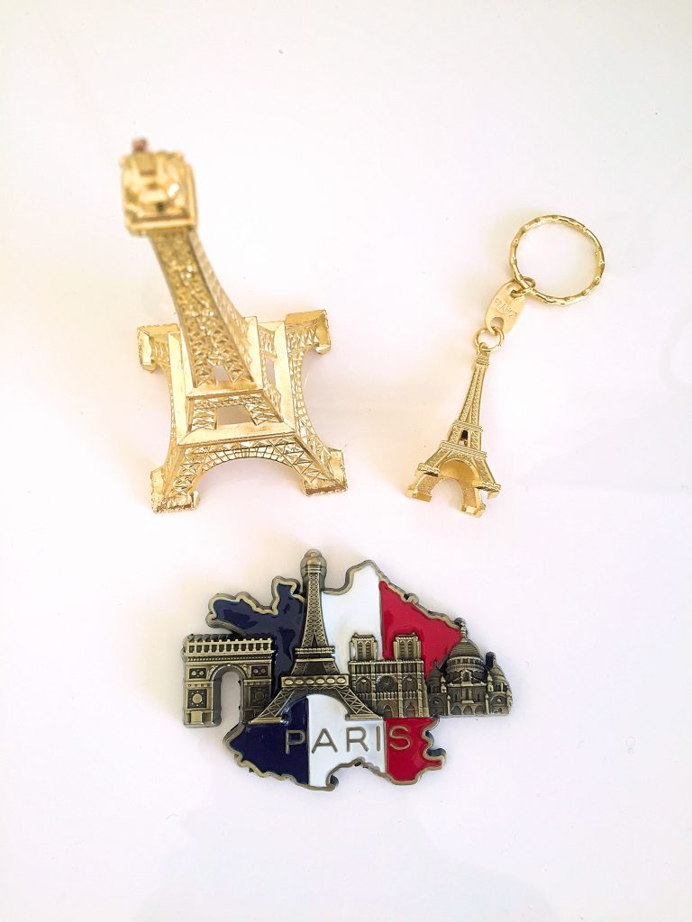 a picture of souvenirs i bought in paris