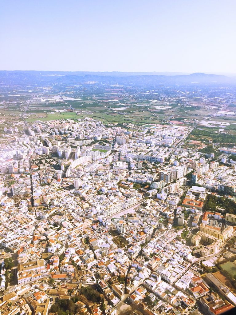 a view of the city before landing