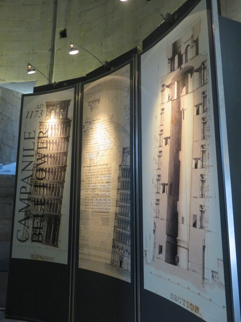 a picture of the display of the design and history of the tower