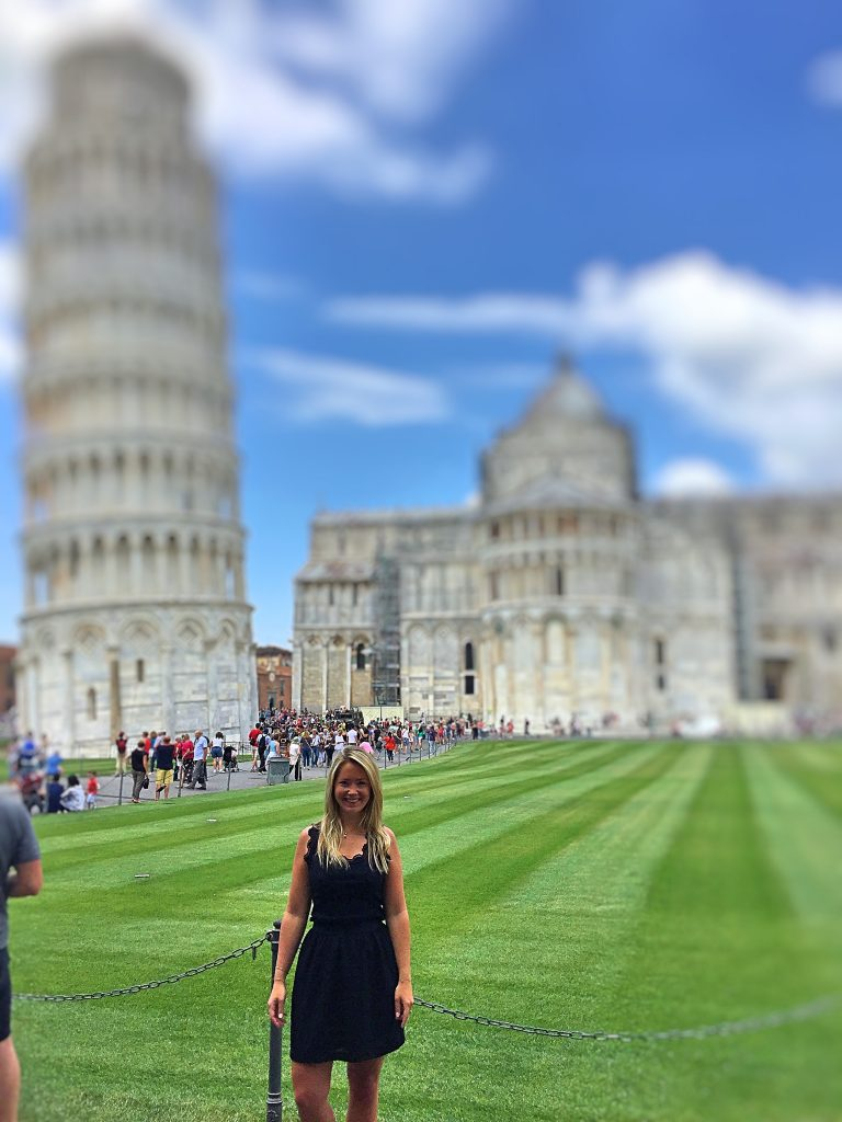 a picture of me at the tower in Pisa