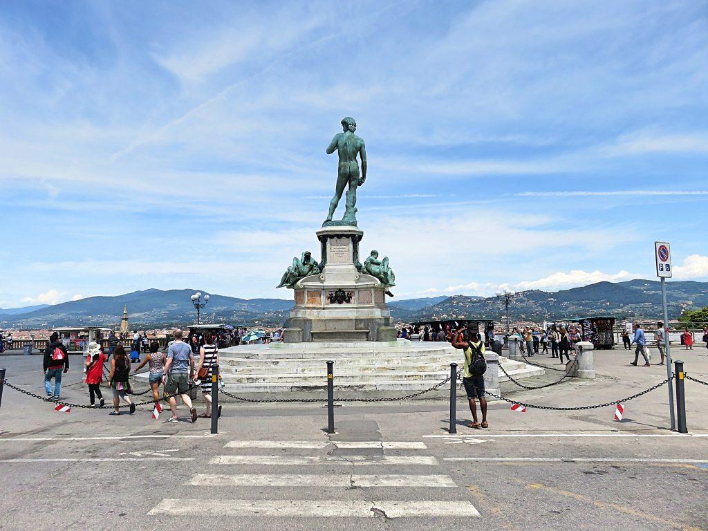 A sculpture of David in bronze