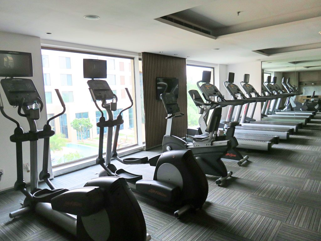 A picture of the treadmills in the gym