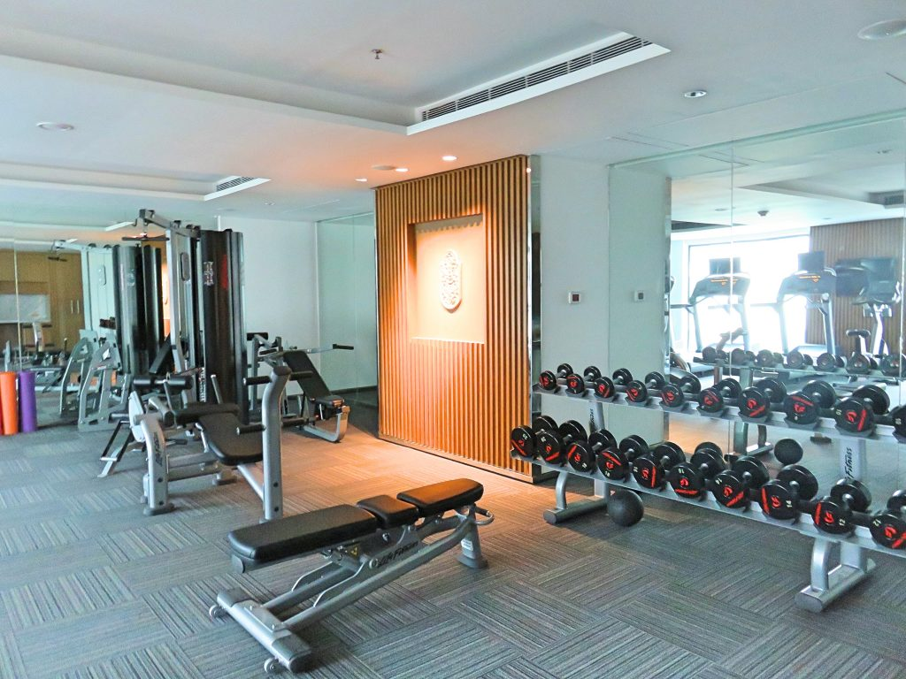 A picture of the gym with the weights and machines