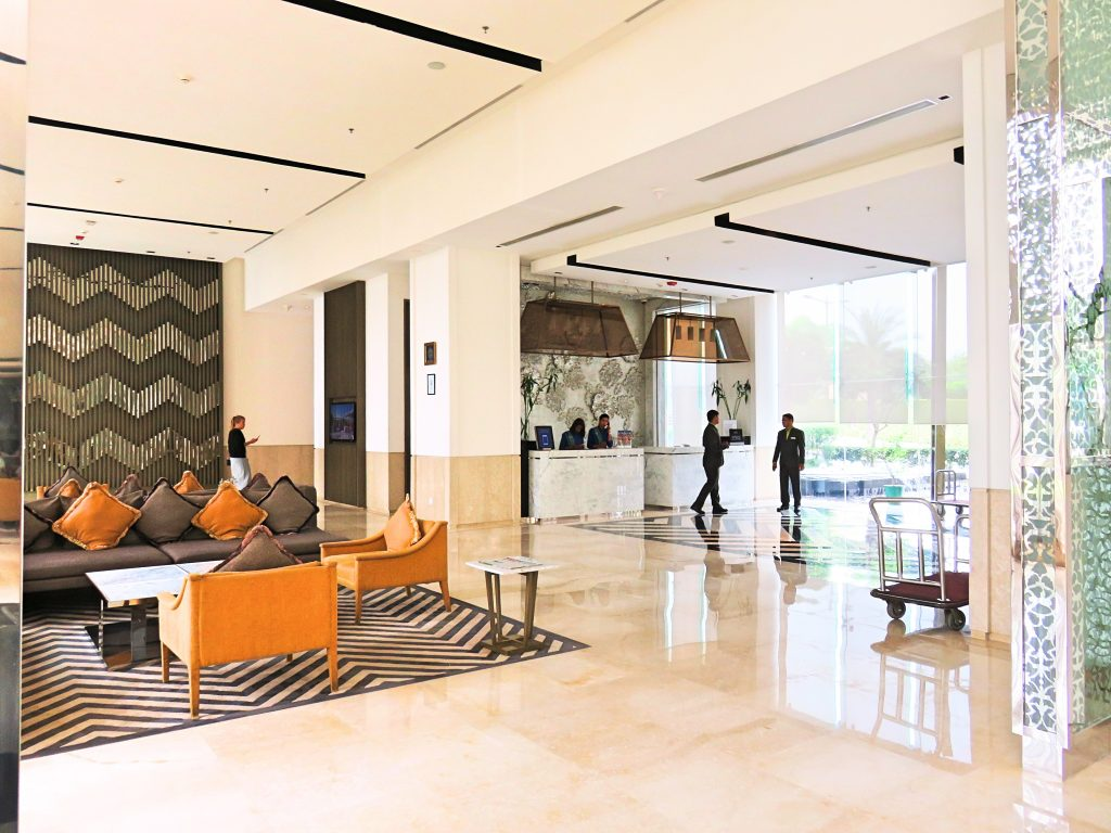 A picture of the lobby and front desk