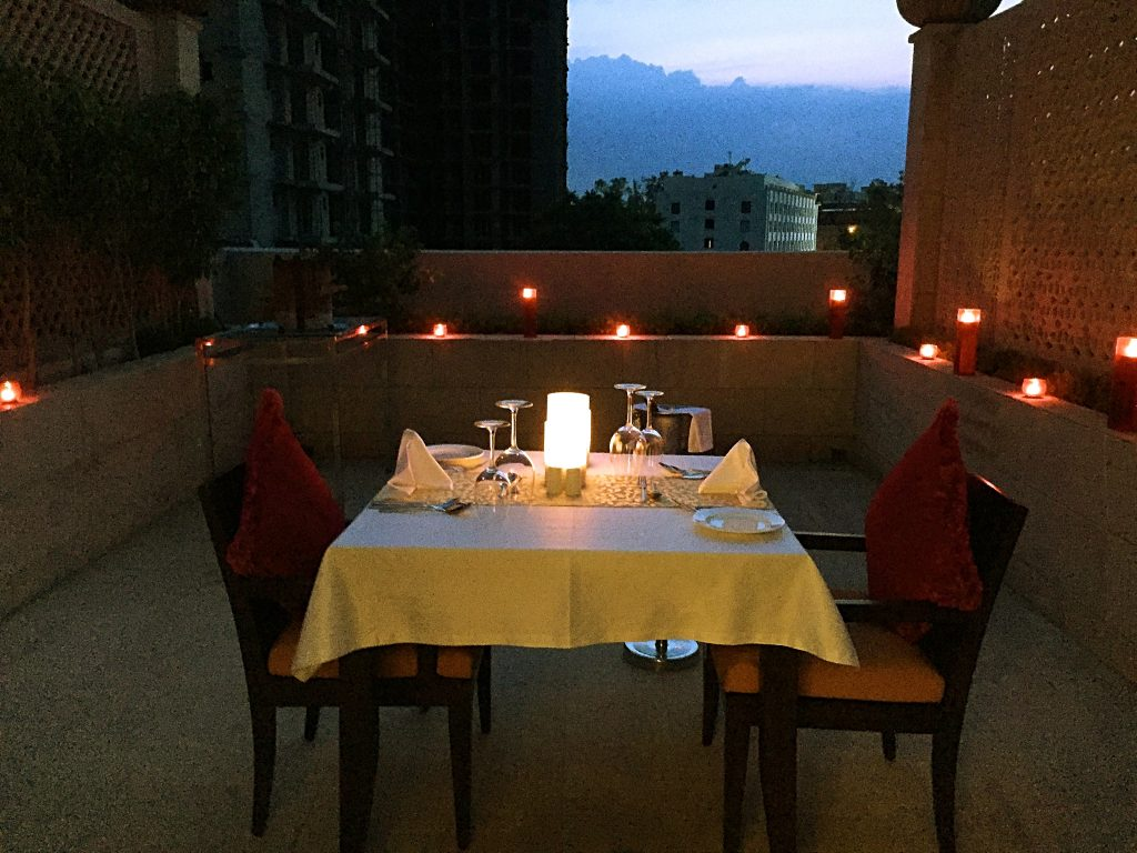 Dinner table arranged for us on the roof