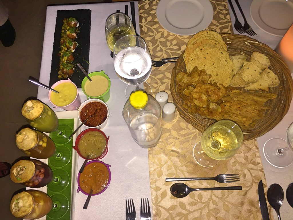 A picture of the pickles and small eats before dinner was served