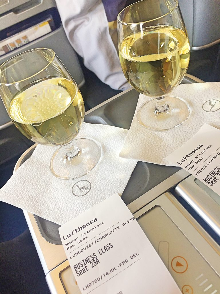 Some wine before take off and I write my airline review