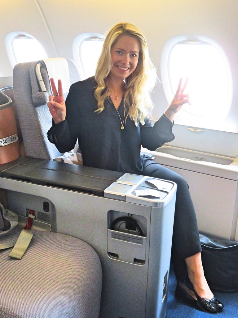 A picture of me in a different seat in Lufthansa A350 Business Class