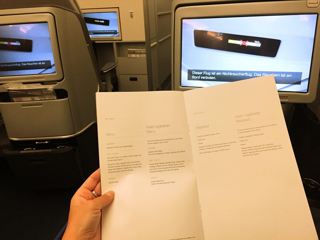 The detailed menu for food in the business class