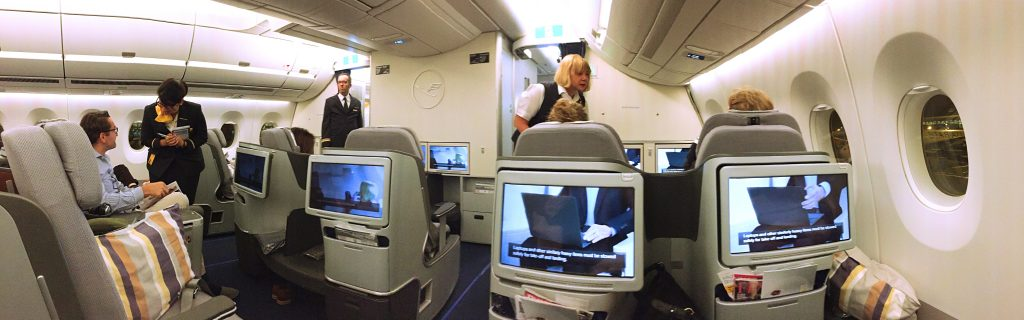 A picture of the cabin for business class