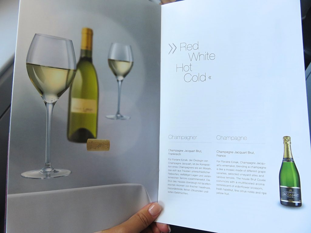 Wine and champagne menu