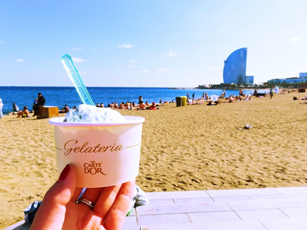 A picture of the gelato I am having at the beach