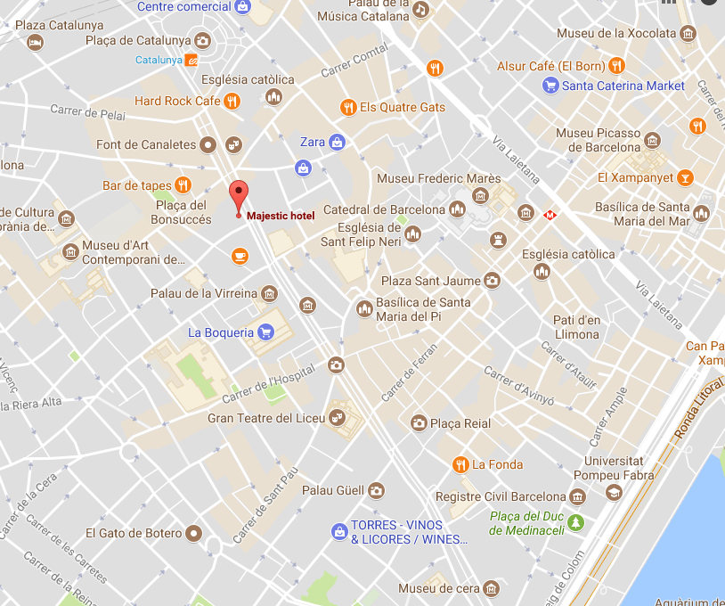 A screenshot of the map with the location of Majestic hotel